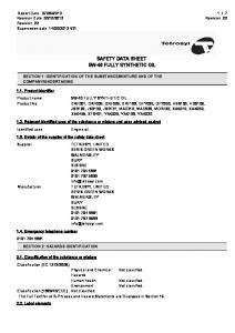 SAFETY DATA SHEET 5W-40 FULLY SYNTHETIC OIL