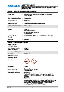 SAFETY DATA SHEET 66 HEAVY DUTY ALKALINE BATHROOM CLEANER AND DISINFECTANT