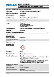 SAFETY DATA SHEET 73 DISINFECTING ACID BATHROOM CLEANER