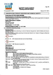 SAFETY DATA SHEET According to Safe Work Australia