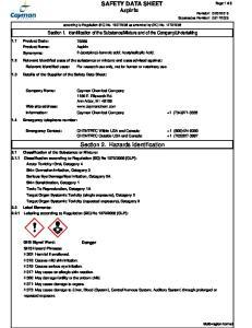 SAFETY DATA SHEET Aspirin. Section 2. Hazards Identification