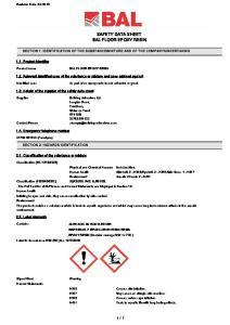 SAFETY DATA SHEET BAL FLOOR EPOXY RESIN