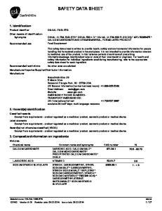 SAFETY DATA SHEET CALCIUM MONOCARBONATE * PRECIPITATED CALCIUM CARBONATE * CHALK