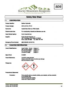 Safety Data Sheet. Causes severe skin burns and serious eye damage. May be corrosive to metals