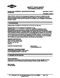SAFETY DATA SHEET DOW CHEMICAL CANADA ULC