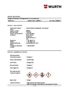 Safety Data Sheet Engine Cleaner & Degreaser 16 oz aerosol