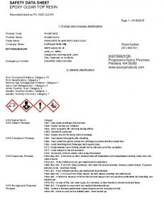 SAFETY DATA SHEET EPOXY CLEAR TOP RESIN