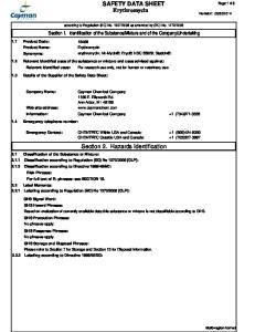SAFETY DATA SHEET Erythromycin. Section 2. Hazards Identification