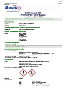 SAFETY DATA SHEET EVO-STIK EPOXY CONTROL RESIN