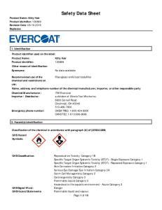 Safety Data Sheet. Fiberglass reinforced bodyfiller