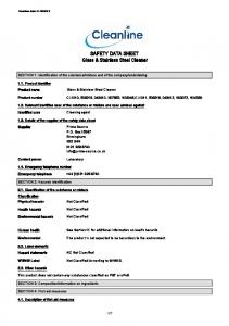 SAFETY DATA SHEET Glass & Stainless Steel Cleaner