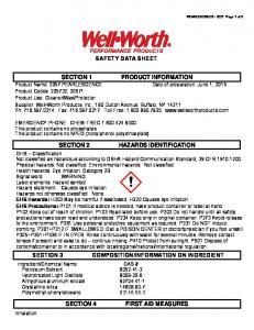 SAFETY DATA SHEET HAZARDS IDENTIFICATION