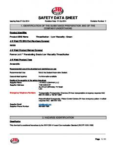 SAFETY DATA SHEET Issuing Date 27-Oct 2014 Revision Date 21-Oct-2014 Revision Number 2