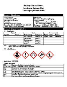 Safety Data Sheet Lead-Acid Battery, Wet Electrolyte (Sulfuric Acid)