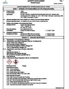 SAFETY DATA SHEET Methotrexate. Section 2. Hazards Identification