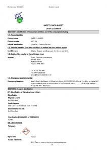 SAFETY DATA SHEET OVEN CLEANER