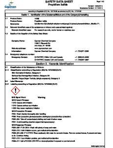 SAFETY DATA SHEET Propidium Iodide. Section 2. Hazards Identification