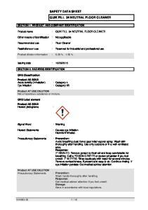 SAFETY DATA SHEET QUIK FILL 34 NEUTRAL FLOOR CLEANER