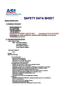 SAFETY DATA SHEET. Revised MARCH CHEMICAL PRODUCT 2. HAZARDS IDENTIFICATION