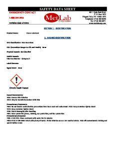 SAFETY DATA SHEET SECTION 1 IDENTIFICATION 2. HAZARD IDENTIFICATION