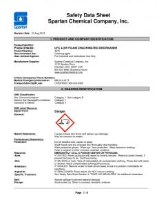 Safety Data Sheet. Spartan Chemical Company, Inc