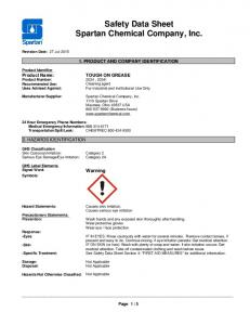 Safety Data Sheet Spartan Chemical Company, Inc