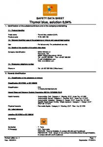 SAFETY DATA SHEET. Thymol blue, solution 0,04% : For lab use only. For professional use only