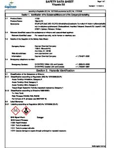 SAFETY DATA SHEET Vitamin D3. Section 2. Hazards Identification