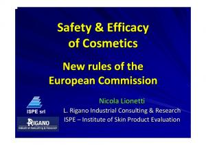 Safety & Efficacy of Cosmetics