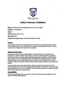 Safety Footwear Guidelines