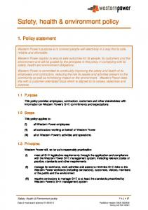 Safety, health & environment policy