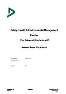 Safety, Health & Environmental Management. Plan for