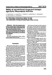 Safety of conventional drugs and biologic agents for Rheumatoid Arthritis