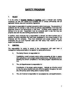 SAFETY PROGRAM 1. POLICY