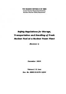 Safety Regulations for Storage, Transportation and Handling of Fresh Nuclear Fuel at a Nuclear Power Plant