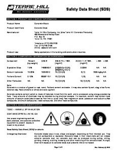 Safety. Sheet. Product Name: Product Identifiers: Manufacturer: P.O. Box 10 (717) Telephone: Product Use: CAS # Component