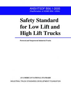 Safety Standard for Low Lift and High Lift Trucks
