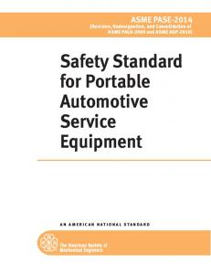 Safety Standard for Portable Automotive Service Equipment