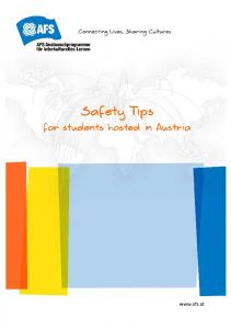 Safety Tips. for students hosted in Austria