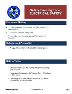 Safety Training Topic ELECTRICAL SAFETY