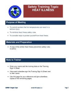 Safety Training Topic HEAT ILLNESS