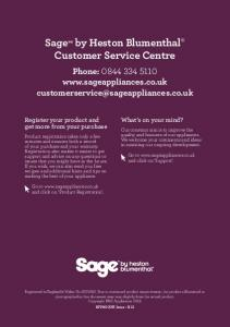 Sage by Heston Blumenthal Customer Service Centre