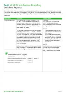 Sage Intelligence Reporting Standard Reports