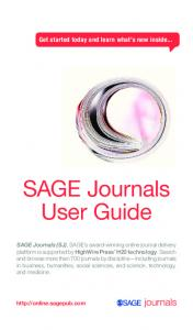 SAGE Journals User Guide