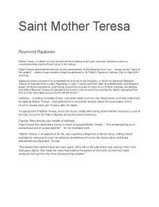 Saint Mother Teresa. Raymond Rajabalan