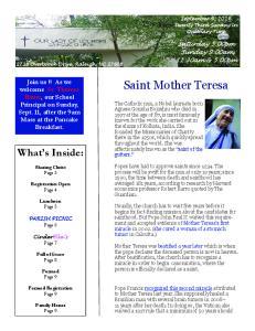 Saint Mother Teresa. What s Inside: