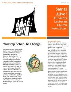 Saints Alive! All Saints Lutheran Church Newsletter