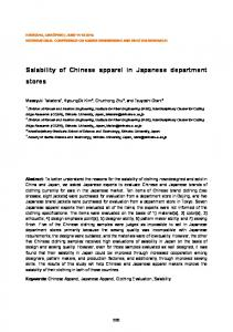 Salability of Chinese apparel in Japanese department stores