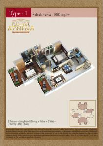 Saleable area Sq. Ft. 2 Bedroom + Living Room & Dinning + Kitchen + 2 Toilet + 3 Balcony + Utility Balcony