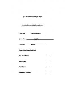 SALEM COMMUNITY COLLEGE COURSE SYLLABUS COVER SHEET